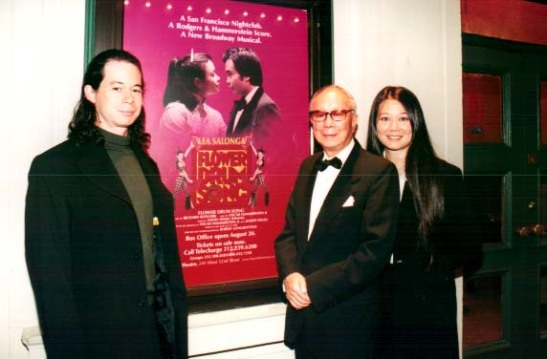 The Flower Drum Song author C.Y. Lee with his son Jay and daughter Jay at the Virginia Theatre on the opening night of David Henry Hwang's revisal of Roger's and Hammerstein's Flower Drum Song.  Photo by Lia Chang