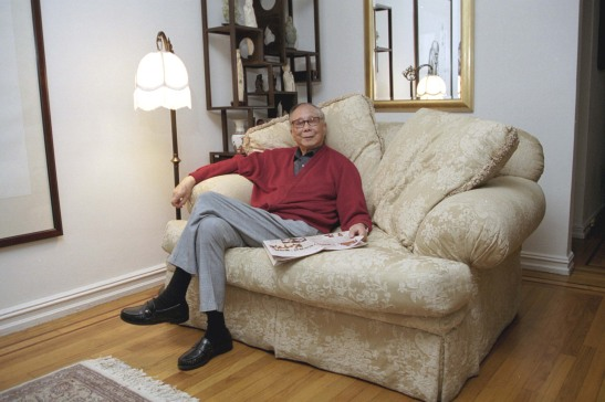 Cy Lee at his daughter Angela's apartment in the East Village of New York in 2002.  Photo by Lia Chang