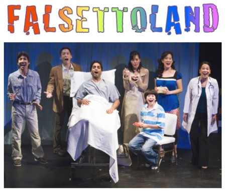 Jason Ma, Francis Jue, Manu Narayan, Ann Sanders, Ben Wu, MaryAnn Hu and Christine Toy Johnson are the merry musical neurotics in NAATCO's Falsettoland at the Dimson Theater in New York through July 1, 2007. Photo by Bruce Alan Johnson