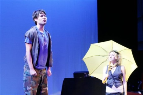 Jason Tam and Caissie Levy in The Yellow Wood. Photo by Lia Chang