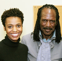 Playwright and actress Amber Kain with her father poet Gylan Kain in New York on March 10, 2008. (Photo by Lia Chang)