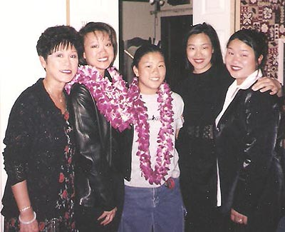 (l-r) Bev Umehara with daughters Tami Chang, Karina Umehara, Lia Chang and Marissa Chang-Flores in San Francisco c1998.
