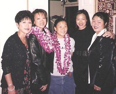 (l-r) Bev Umehara with daughters Tami Chang, Karina Umehara, Lia Chang and Marissa Chang-Flores in San Francisco c1998.
