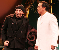 Jarlath Conroy and Thom Sesma in the Bay Street Theatre revival of Charles Busch's Shanghai Moon on June 7, 2008. (Photo by Lia Chang)