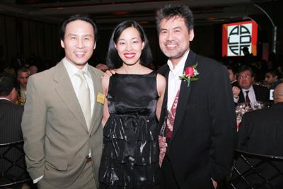 BD Wong, Lia Chang and David Henry Hwang at the AALDEF Lunar New Year Gala at Pier 60 in New York.