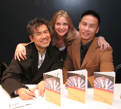 Playwright David Henry Hwang, his wife actress Kathryn Layng and BD Wong at the Asian American Writers' Workshop Literary Awards in New York on December 8, 2008. (Photo by Lia Chang)