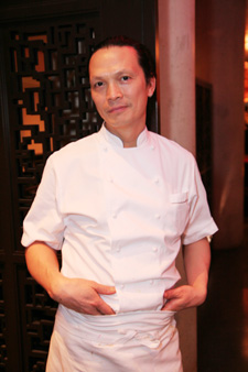 Chef Susur Lee in the lobby of his new restaurant Shang, in the Thompson LES Hotel on January 10, 2009. (Photo by Lia Chang)