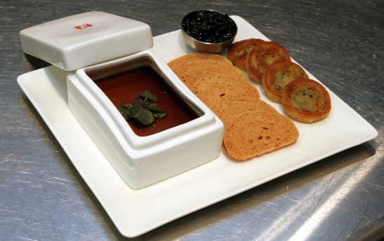 Foie Gras and Chicken Liver Pate served with green onion pancakes, wheat mantou crisps and black currant jam (Photo by Lia Chang)