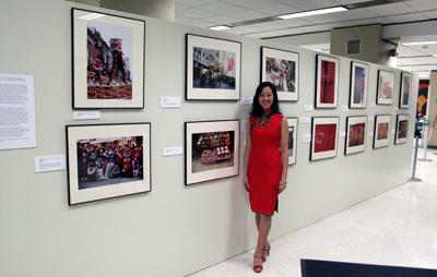 Lia Chang at the opening reception of her exhibition RED at Gouverneur Healthcare Services on February 5, 2009 in New York Chinatown. (Photo by Phil Nee)