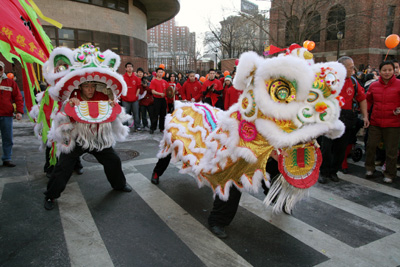 Lion Dancers of the New York Hung Sing Kwoon Lion Dance Team at the Chinese New Year Parade in New York on February 1, 2009. (Photo by Lia Chang)