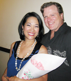 Christine Toy Johnson and husband Bruce Alan Johnson at the reception for her Things I Love Cabaret Show at West End Theater on March 16 presented by Pan Asian Rep. in New York. (Photo by Lia Chang)