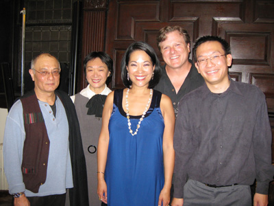 Pan Asian Rep's Ernest Abuba, Tisa Chang, Christine Toy Johnson, Bruce Alan Johnson and Robert Lee, at the reception for Things I Love at West End Theatre presented by Pan Asian Rep. (Photo by Lia Chang)