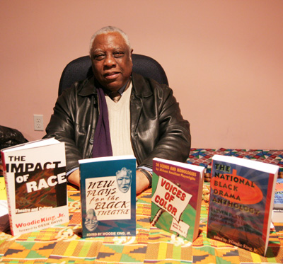Woodie King, Jr. at a reading and reception at Maysles Cinema in New York on 2/19/09. Photo by Lia Chang