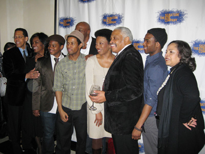 The cast of Zooman: Peter Jay Fernandez, Rosalyn Coleman, Jamal Mallory-McCree, Evan Parke, Amari Cheatom, Portia, Ron Canada, W. Tre Davis and Lynda Gravatt. (Photo by Lia Chang)