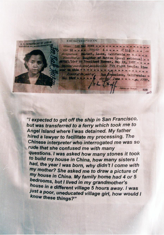 Lee Bak Huen's immigration card.  Photo by Lia Chang