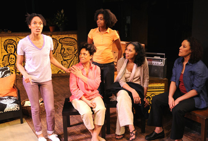 "Left to right: Eisa Davis (as Eisa), Denise Burse (Grandma), Ayesha Ngaujah (Cess), Kim Brockington (Mommy), and Linda Powell (Angela) in Eisa Davis' ""Angela's Mixtape,"" presented by New Georges and Hip-Hop Theater Festival at the Ohio Theatre, 66 Wooster Street (between Spring and Broome Streets). The production is directed by Liesl Tommy. Performances runs through May 2, 2009. Photo credit: Jim Baldassare."