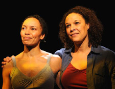 Eisa Davis and Linda Powell in Angela's Mixtape. (Photo by Jim Baldassare)