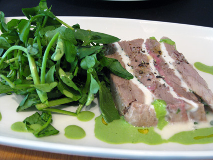 warm veal and goat cheese terrine with watercress (photo by Lia Chang)