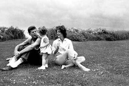 Kennedy family on beach, at Hyannis Port (Photo by Mark Shaw)