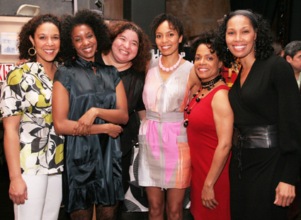 """Castmembers Linda Powell, Ayesha Ngaujah, director Liesl Tommy, Eisa Davis, Denise Burse and Kim Brockington celebrate the opening night of their show """"Angela's Mixtape,"""" written by Eisa Davis, and presented by New Georges and Hip-Hop Theater Festival, at the Ohio Theatre on April 9, 2009. (Photo by Lia Chang)"""