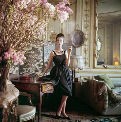 A Dior gown photographed for LIFE in 1960 in the 17th century home of Suzanne Luling, then directrice of Dior. (Photo by Mark Shaw)