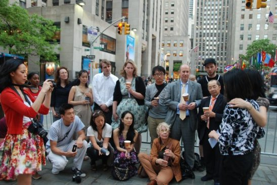 New York vigil at Rockefeller Center for detained journalists Euna Lee and Laura Ling on May 21, 2009. (Photo by Fred Teng)