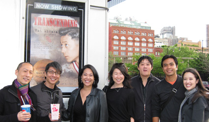 l-r Francis Jue, Jason Ma, Filmmaker Christine Toy Johnson, Helen Hur Paguia, Marco Paguia, Jose Llana and Deborah Lew at the screening of Transcending: The Wat Misaka Story at Tribeca Cinema on May 18, 2009. Photo by Lia Chang