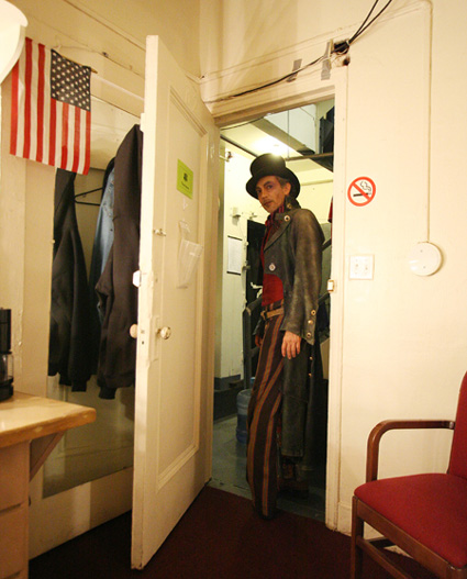 In the Twyla Tharp-Bob Dylan Broadway Musical The Times They Are A-Changin', Sesma played the sadistic whip wielding Captain Ahrab. Backstage in his dressing room at the Brooks Atkinson Theater in New York on November 14, 2006. Photo by Lia Chang