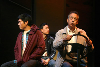 (l-r) Peter Kim portrays Isaac Lee, Andrew Cristi is Jimmy Lee and Thom Sesma is Boo-Seng Lee in the Cincinnati Playhouse in the Park.