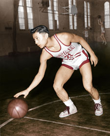 Japanese American star basketball player Wat Misaka appeared in three games for the New York Knicks in the 1947-48 season when the Knicks were part of the Basketball Association of America, which merged with the NBA after the 1948-49 season.