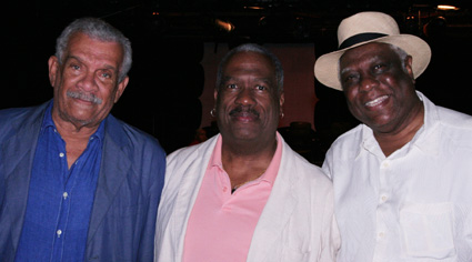 Marie Laveau playwright Derek Walcott, director Clinton Turner Davis and New Federal Theatre producer Woodie King Jr. (Photo by Lia Chang)
