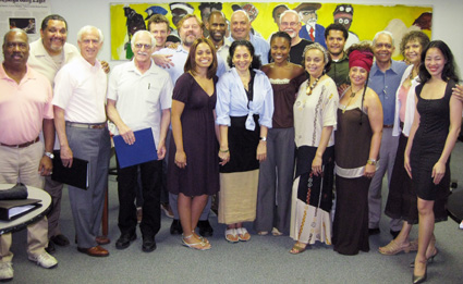 (front row l-r) Marie Laveau director Clinton Turner Davis with his cast Gerard Catus, Stu Richel, Martin Shakar, Teresa Lasley, DeWanda Wise, Marie Thomas, DK Dyson, John Danelle, Trezana Beverly and Lia Chang (back row l-r) Hunter Canning, Tom Brangle, Harrison Lee, Steve Greenstein, Arthur Bartow, Brandon Dirden