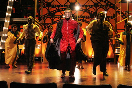 André De Shields plays the title character in The Classical Theatre of Harlem's production of <em>Archbishop Supreme Tartuffe</em> by Alfred Preisser & Randy Weiner, which has performances through July 19 at The Clurman @ Theatre Row in New York. Photo by Lia Chang