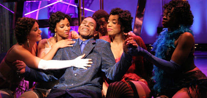 (l-r) Charletta Rozzell, Gina Marie Rivera, André De Shields, Rejinald Woods, Kisa Willis and Jennifer Akabue in a scene from The Classical Theatre of Harlem's production of <em>Archbishop Supreme Tartuffe</em>. Photo by Lia Chang