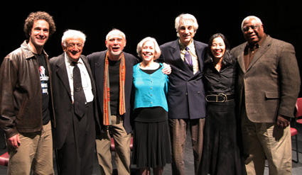 (l-r) The cast of A TUNE BEYOND US or WHAT A REVOLTIN' DEVELOPMENT THIS IS! Arik Luck, Robert Paul Abelson, Edward Pomerantz, Sandra Kazan, Michael Citriniti and Lia Chang with New Federal Theatre producer Woodie King Jr.