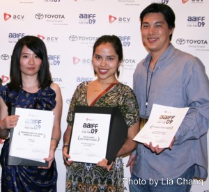 (l-r) Li Tong director Nian Liu (Best Emerging Director in Narrative Feature), Ayi's Story director Iemi Hernandez-Kim (One to Watch award), Whatever It Takes director Christopher Wong (Audience Choice Award). Photo by Lia Chang
