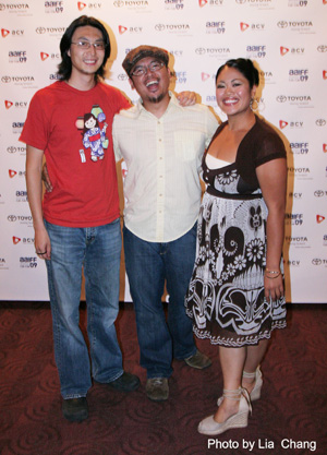 Fruit Fly cinematographer Richard Wong, filmmaker and star H.P. Mendoza and actress L.A. Renigen at the AAIFF screening of their film on 7/26/09 at  Clearview Chelsea Cinemas. (Photo by Lia Chang)