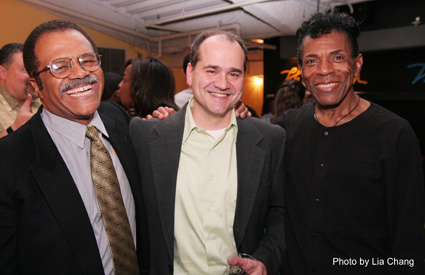 Director Alfred Preisser is flanked by Ted Lange and Andre De Shields, who star in the Classical Theatre of Harlem's production of Archbishop Supreme Tartuffe, which Preisser co-wrote with Randy Weiner. (Photo by Lia Chang)