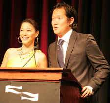 Frances Rivera, anchor, 7News and CW56 in Boston and Arthur Chi'en reporter/host with WPIX-TV/New York, emcee'd the banquet. © Lia Chang