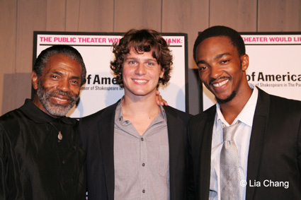 André De Shields, Jonathan Groff and Anthony Mackie at the Delacorte Theatre, for the Public Theatre's Shakespeare in the Park opening night of The Bacchae on 8/24/09. © Lia Chang
