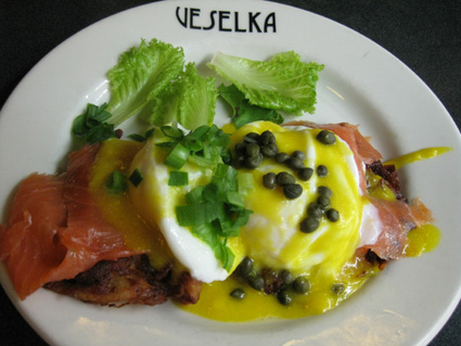 Salmon Latke Eggs Benedict at Veselka (c) Lia Chang