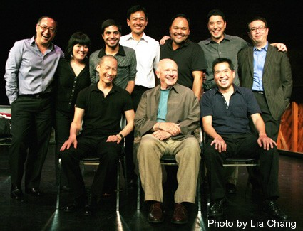 NAATCO's LOVE! VALOUR! COMPASSION! benefit reading at the Cherry Lane Theater in New York on September 14, 2009. (L-R back row) Director Alan Muraoka, Ann Harada, Satya Bhabha, Joel de la Fuente, Orville Mendoza, James Yaegashi, Ralph Pena, (L-R seated) Francis Jue, playwright Terrence McNally and Andy Pang. Photo by Lia Chang