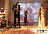 Will Calhoun performs with saxophonist, dancer Ethel Calhoun and Tibetan vocalist Yung Chen Lhamo on October 28, 2009 at the Chelsea Art Museum in New York. © Lia Chang