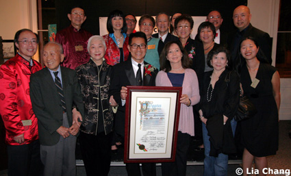 Lisa Lu, Arthur Dong, Nancy Kwan and Tsai Chin with Chinese American Museum board members and staff at the opening reception for Hollywood Chinese:  The Arthur Dong Collection, at the Chinese American Museum in Los Angeles on October 23, 2009. © Lia Chang