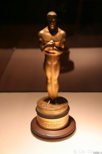 Oscar® statuette won by Chinese American Cinematographer, James Wong Howe for the Rose Tattoo in 1955, on loan courtesy of Don Lee, is on display. © Lia Chang