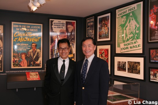 Curator/Filmmaker Arthur Dong gives George Takei a private tour of his exhibition Hollywood Chinese:  The Arthur Dong Collection, at the Chinese American Museum in Los Angeles on October 23, 2009. © Lia Chang