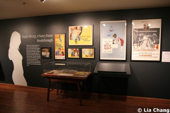 A section devoted to the cross-over success of Nancy Kwan, one of Hollywood's most visible Eurasian actresses who played a pivotal role in driving the acceptance of Asian actors in major Hollywood film roles at the Chinese American Museum in Los Angeles on October 23, 2009. © Lia Chang