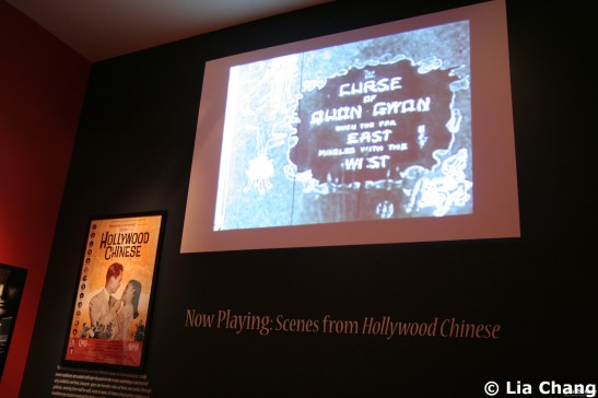 A selection of film excerpts from the documentary Hollywood Chinese, this one about the recently discovered 1916 film, The Curse of the Quon Gwon, the earliest known feature film directed by an Asian American, San Francisco native, Marion Wong, plays in a loop on a projection wall in the Wall-of-Fame room highlighting the distinguished company of Chinese and Chinese American Academy Award® winners. © Lia Chang