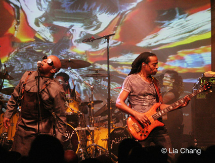 Corey Glover, Will Calhoun and Doug Wimbish of Living Colour in concert at the Highline Ballroom on October 30, 2009 in New York. © Lia Chang
