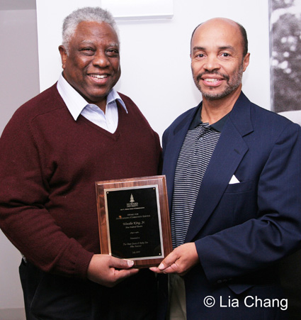 In recognition of New Federal Theatre Founder and Director Woodie King, Jr.'s community service in film and the dramatic arts, the theater legend received an Award for Community Service in Communication Arts from Howard University's John H. Johnson School of Communications. The award was presented to him by Jeff Burns, Jr. who serves as Vice Chair of the school's Board of Visitors at the opening night of The River Crosses Rivers at Castillo Theatre on October 8, 2009. © Lia Chang
